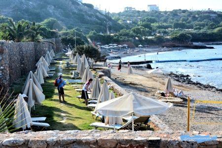 Plaża hotelu Blue Marine w Ammoudara Kreta