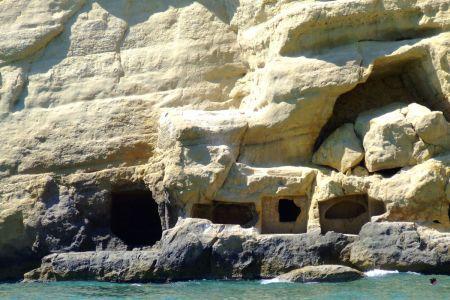 Jaskinie w skale Plaża Matala Kreta